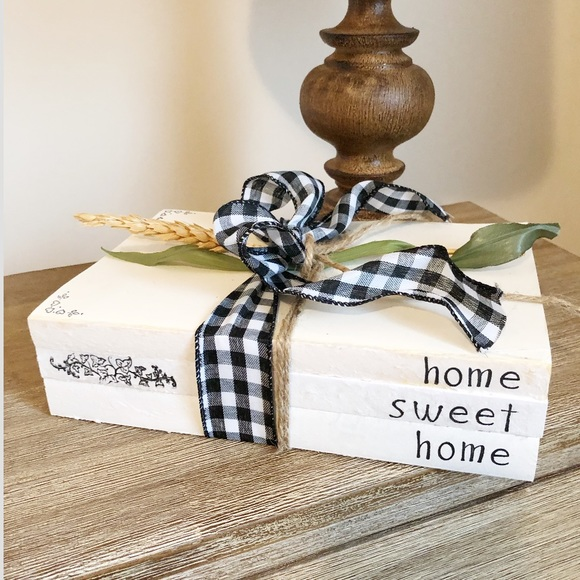 Other - Home Sweet Home Decorative Stamped Book Stack